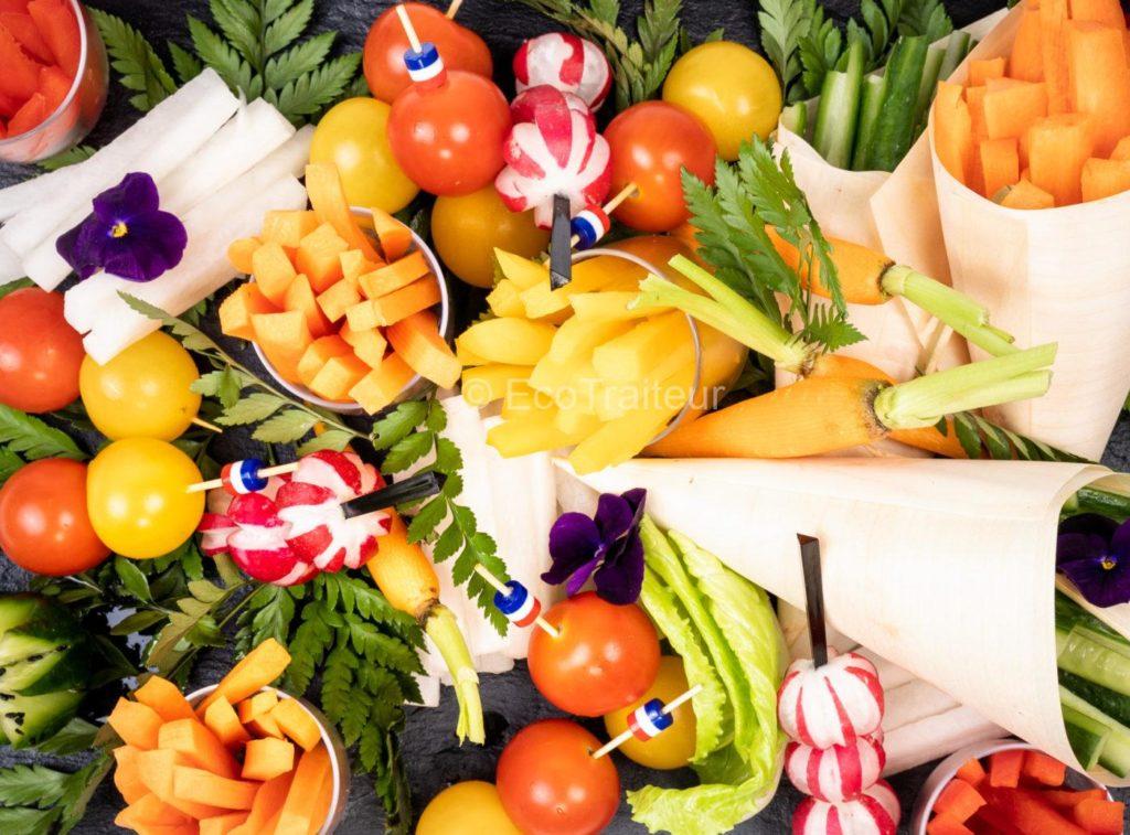 plateau de crudité batonnet a partager vegetarienne ecotraiteur paris traiteur eco responsable produit frais traiteur salons